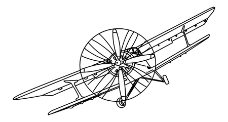 Biplane vector drawing on white background