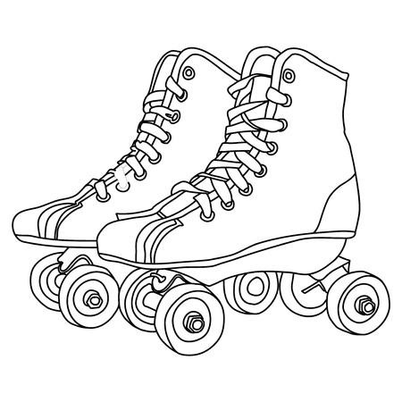 Rollschuhe zeichnen auf weißem Hintergrund Vektorgrafik
