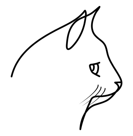 Cat head drawn by continuous lines. Vector