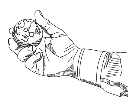 Hand is holding a globe. Vector linear illustration