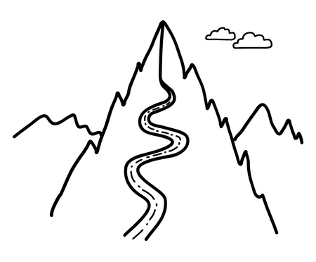 Road to the montains. Concept line drawing Ilustrace