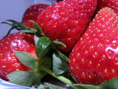 Fresh strawberries with green leaves. Macro
