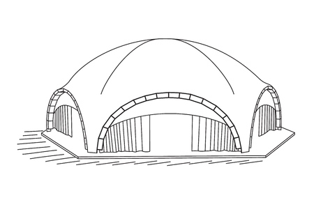 Arched Tent isolated on white background. Vector illustration