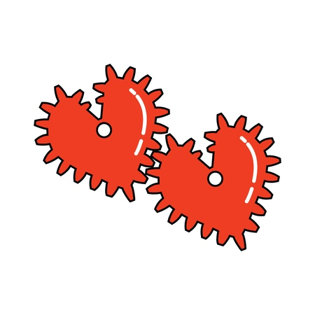 Icon of hearts in the form of gears on white background. Vector