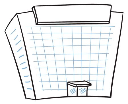 Modern building in a doodle style Ilustrace