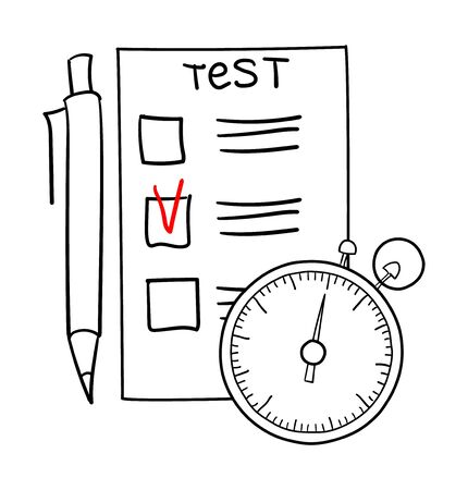 Checklist, pencil and stopwatch on white Ilustrace