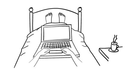 Man lying in bed with his laptop