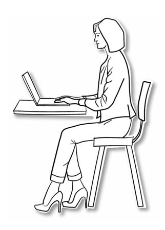Young teacher browsing the internet through laptop inside the classroom, Vector outline illustration