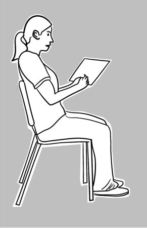 Female student sitting on a chair with a tablet isolated over a white Ilustrace