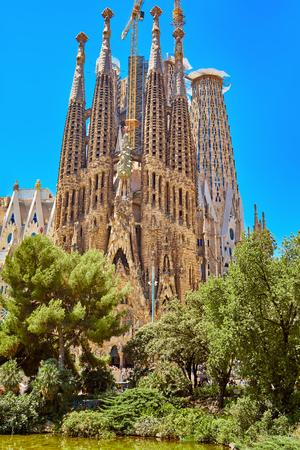 Barcelona, Spain - June 30, 2019: Sagrada Familia church in Barcelona. Church of the Holy Family Editorial