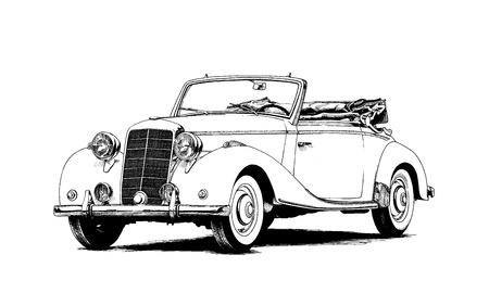 retro car painted ink black and white