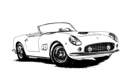 rapidity: retro car painted ink black and white