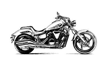 painted the motorcycle black and white