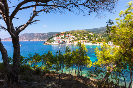 Small Greek town with nice bay Banco de Imagens