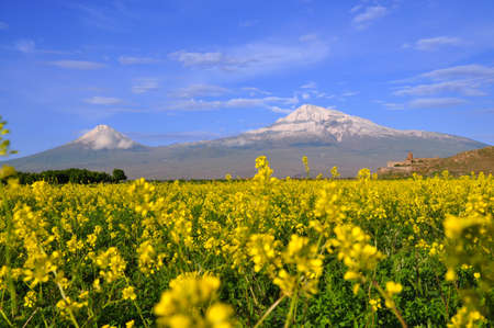 Ararat is the highest point of the Armenian Highland  The ancient monastery of Khor Virap visible in the background