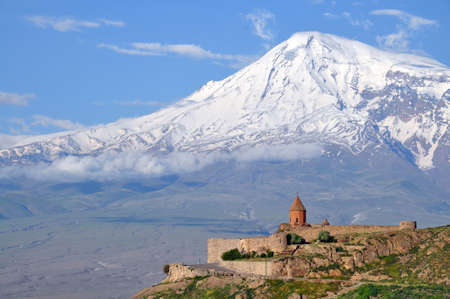 armenia: Ararat with khor Virap monastery in Armenia