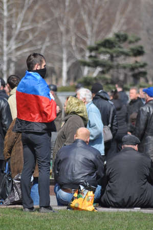 annexation: Separatists meeting in Donetsk  Ukraine  The maidan