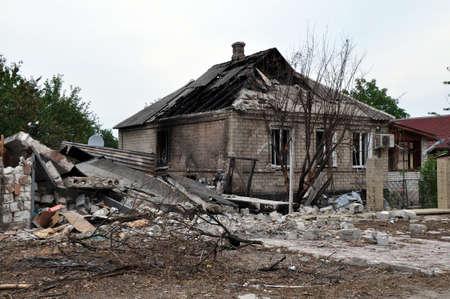 private building in a war zone in the Donetsk region, Khartsyzk  Ukraine photo