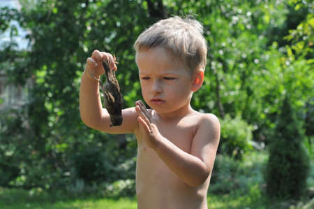 regret: Child holding a foot of a dead sparrow and regret it