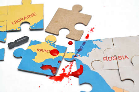 annexation: Image annexation of the Crimea in 2014 in the form of geographic puzzles