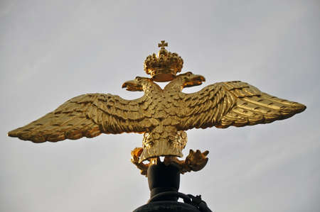 double headed: The double-headed eagle on the gun barrel. Transfiguration Cathedral , Saint Petersburg