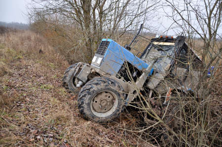 Tractor accident occurred due to the fault drunk driver Stock Photo
