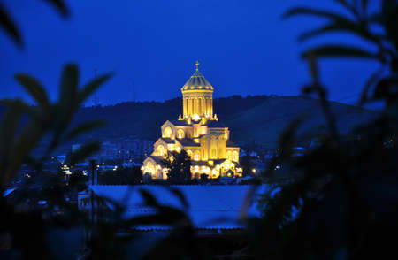 the main cathedral of the Georgian Orthodox Church located in Tbilisi. night Stock Photo