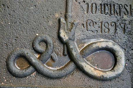 headstone: Details of stone carving. Armenia. Headstone near Odzun church Stock Photo