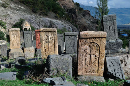 apostolic: khachkars in cemetery of the Srbanes Monastery built in VIII-XVII centuries. Ardvi, Armenia.