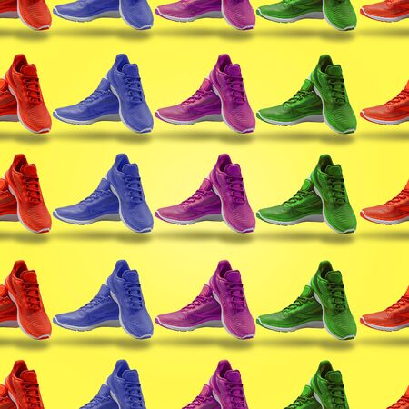 colorful pattern sneakers sport footwear shopping yellow background shopping 스톡 콘텐츠