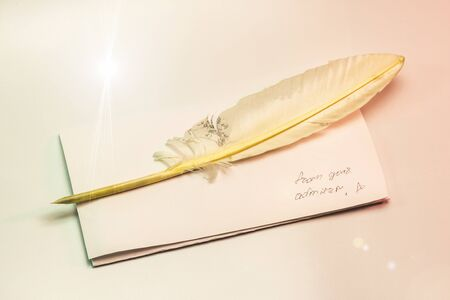 writing letters with feather pen from admirer message