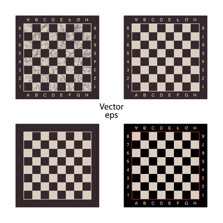 Four empty chess boards on isolated white background. Grunge effect, scuffs, scratched. Boards for intellectual games checkers, chess. Vector illustration.