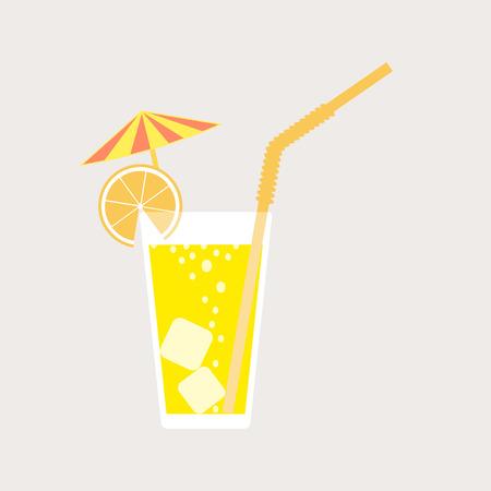 Un bicchiere di limonata, una soda con ghiaccio e un ombrello da cocktail. Succo di limone. Un bicchiere di cocktail al limone o all'arancia con paglia. Illustrazione vettoriale isolato su sfondo chiaro. Elemento per il tuo design.