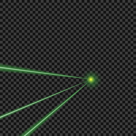 Vector bright, green, laser beams on isolated transparent background. Design element.