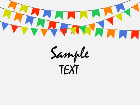 Festive multicolored bright flags, garlands of Bunting isolated on white background. Sample text. Vector illustration. Eps 10.