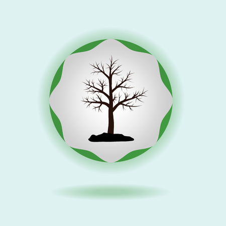 Silhouette of a tree on a green emblem. Vector concept of ecology. Eps 10.