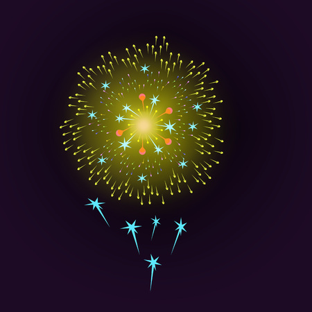 Vector holiday gold fireworks on a blue background. Illustration for decoration of festive posters and banners. Eps 10.