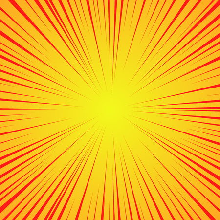 Radial red lines on a yellow background. Comic book speed, explosion. Vector illustration for graphic design. Eps 10.