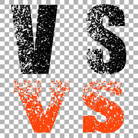 Illustration of concept vs. On isolated transparent background, letters in abstract style. Vector elements for your design. Eps 10. Vettoriali