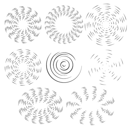 The black and white effect of the rotating fan propeller. Vector selection of round design elements on white isolated background. Eps 10.