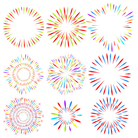 Selection of fireworks on white isolated background. Vector holiday elements for design. Eps 10.
