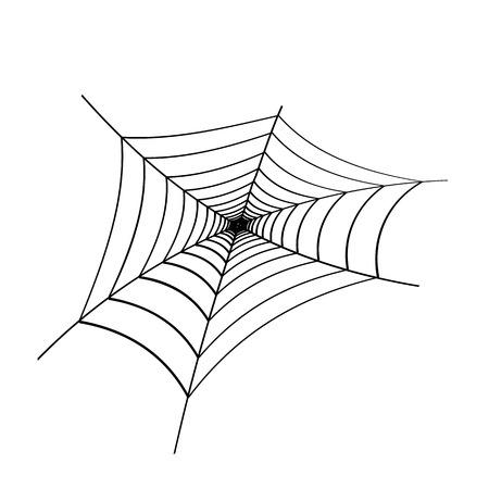 Schwarzes Spinnennetz auf weißem Hintergrund. Gestaltungselement, Symbol. Vektor. Eps 10. Vektorgrafik