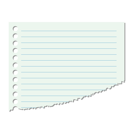Portion of the sheet of paper in a line on an isolated white background. Vector illustration. Eps 10.