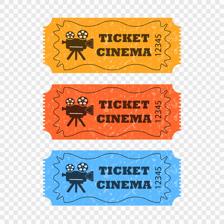 Movie tickets on a transparent background in different colors. Vector elements for your design. Eps 10. Illustration