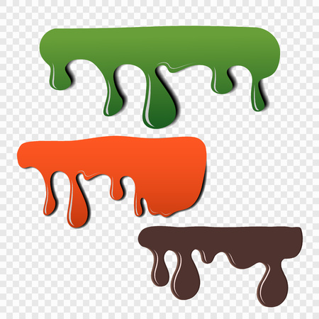 The effect of the fluidity of paint on a transparent background. Color dripping vector elements for your design. Eps 10. 向量圖像