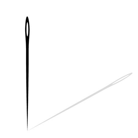 Black needle with shadow on white isolated background. Vector needle icon for hand sewing, sewing needle. Eps 10.  イラスト・ベクター素材