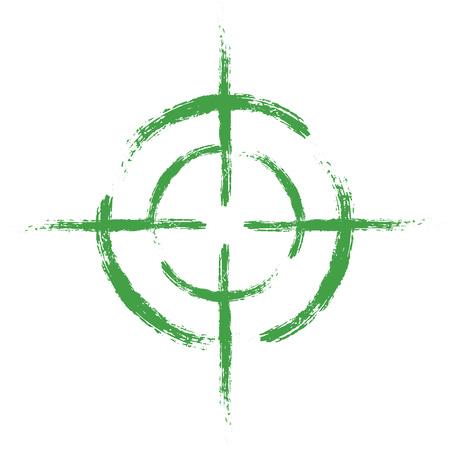Obiettivo verde su sfondo bianco isolato. Elemento del vettore, illustrazione, icona per il tuo design. Eps 10.