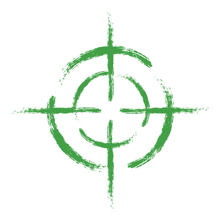 Green target on isolated white background. Vector element, illustration, icon for your design. Eps 10.