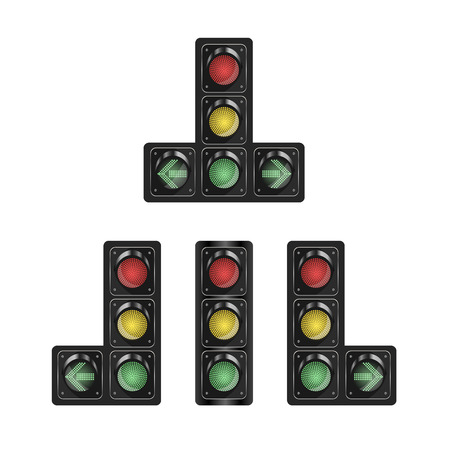 Selection of traffic lights with additional section on white isolated background. Vector illustration for your design. Eps 10.