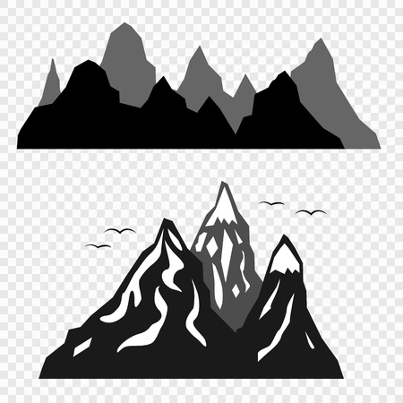 The mountains and the silhouettes of birds isolated on a transparent background. Vector elements for your design. Eps 10.
